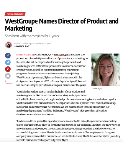 WestGroupe Names Director of Product and Marketing