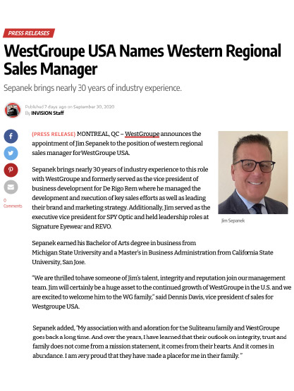 WestGroupe USA Names Western Regional Sales Manager